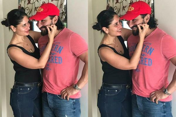 kareena kapoor khan pose with husband saif ali khan