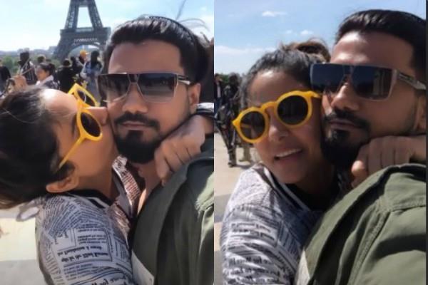 hina khan kiss her boyfriend rocky jaiswal