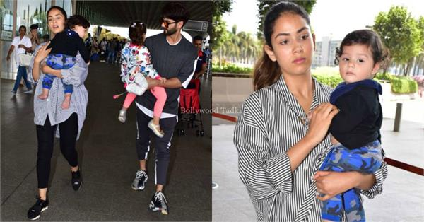 shahid kapoor spotted at airport with family