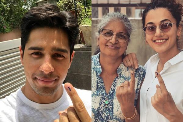 sidharth malhotra swara bhaskar taapsee pannu cast their vote in delhi