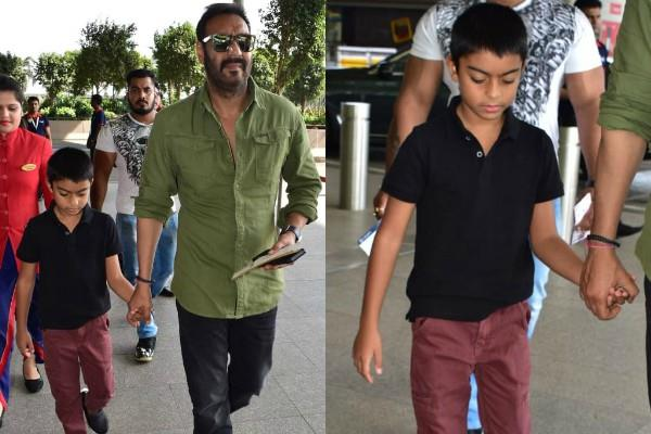 ajay devgn with son yug devgn at airport