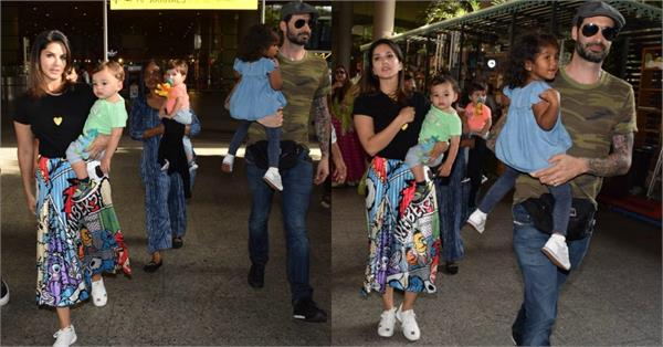 sunny leone spotted at airport with family