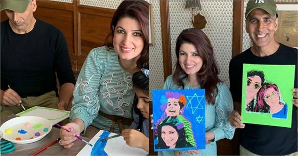 akshay kumar art project with wife twinkle khanna and daughter nitara