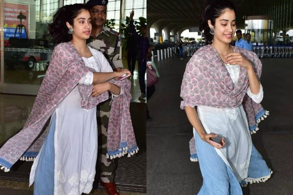 janhvi kapoor spotted at airport look