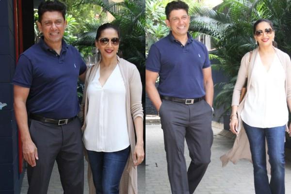 madhuri dixit spotted with husband shriram nene