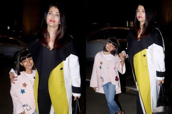 aishwarya rai bachchan with aradhya leaves for cannes 2019