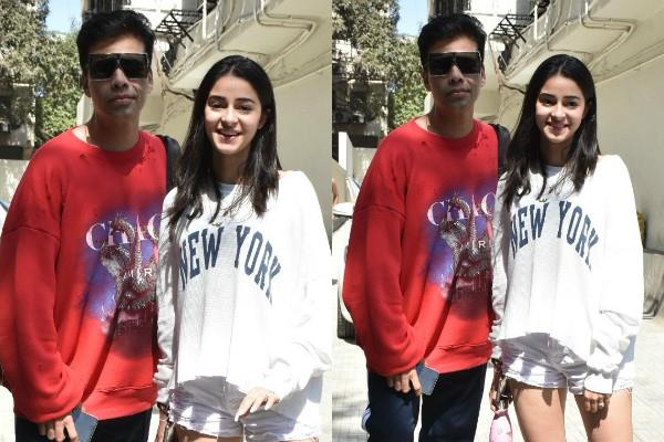 ananya pandey spotted with karan johar