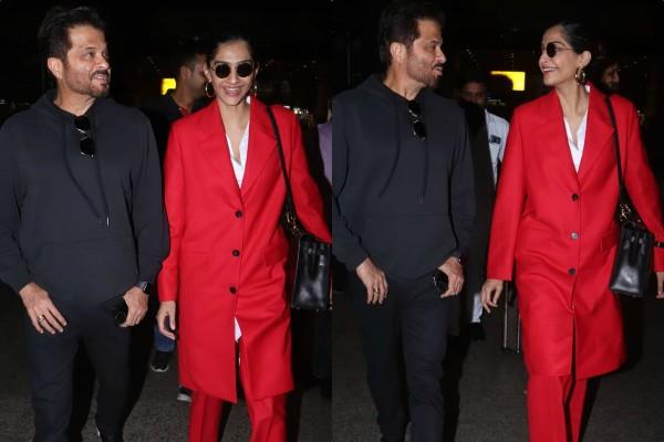 anil kapoor spotted at airport with sonam kapoor