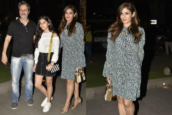 raveena tandon spotted at dinner date with family