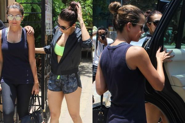 malaika arora spotted at gym with sister amrita arora