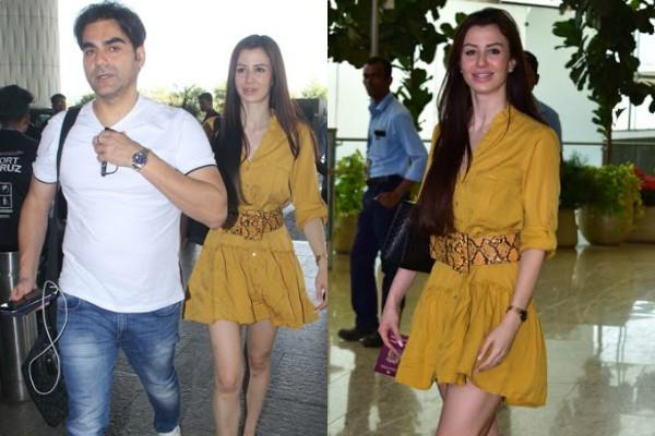 arbaaz khan spotted at airport with girlfriend giorgia andriani