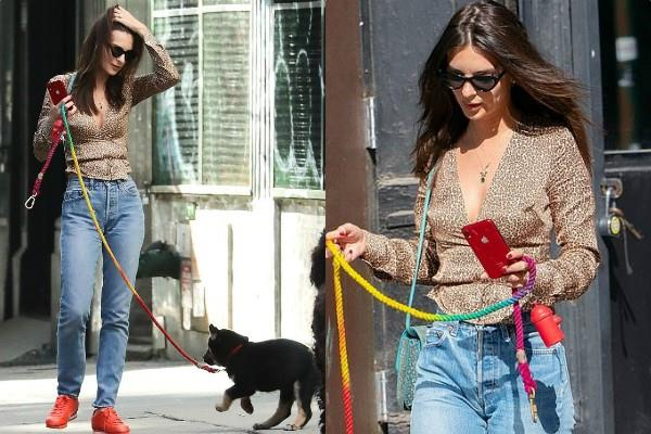 emily ratajkowski walking her dog in new york city