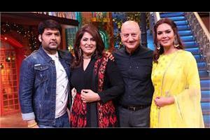 anupam kher and isha gupta at kapil sharma show