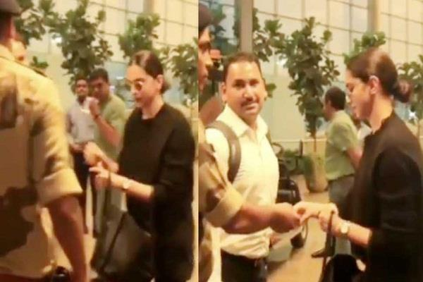 security guard ask deepika padukone for id at the airport