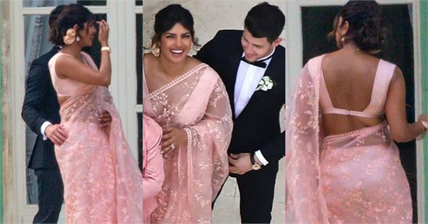 priyanka chopra looking beautiful in saree at joe sophie wedding