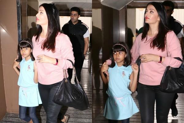 aishwarya rai movie date with daughter aaradhya and husband abhishek bachchan