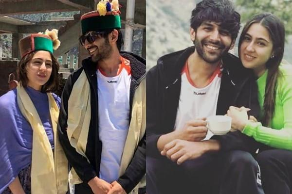 sara ali khan kartik aaryan pose in traditional himachali caps