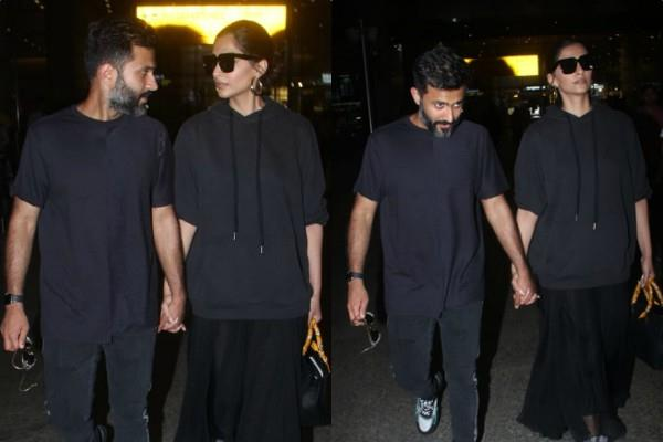 sonam kapoor spotted at airport with husband