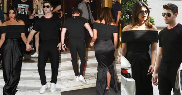 ऑफ शोल्डर ड्रेस में प्रियंका का स्टनिंग लुक, पति निक का हाथ थाम दिए पोज