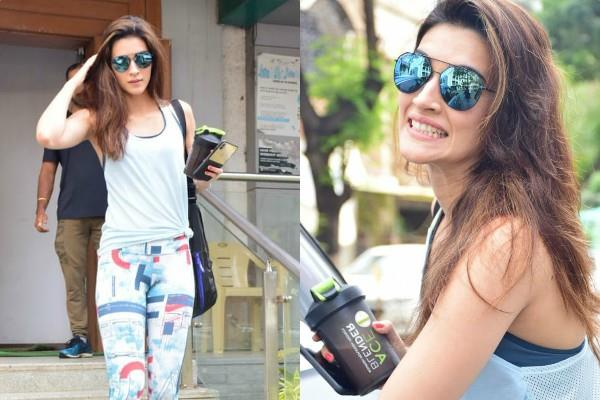 kriti sanon spotted outside the gym