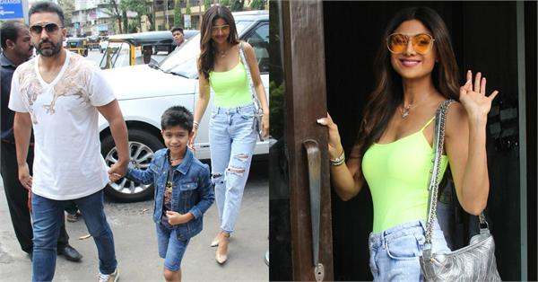 shilpa shetty spotted at lunch date with family