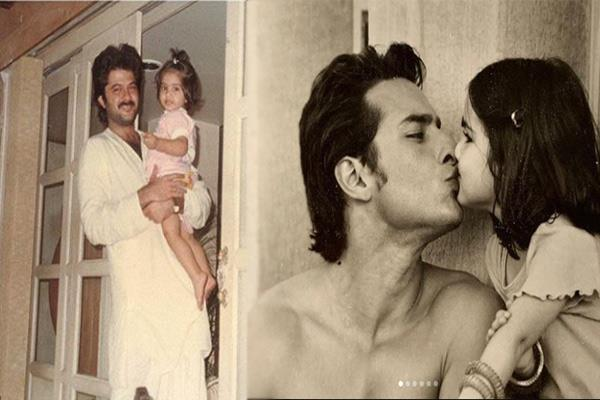 bollywood celebrate fathers day see the rare photos of sara and sonam kapoor