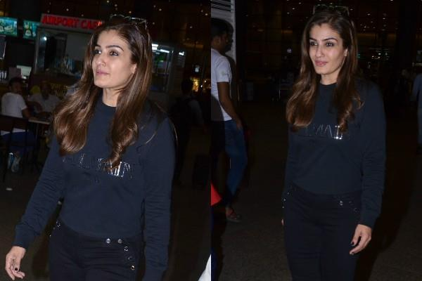 raveena tandon spotted at airport