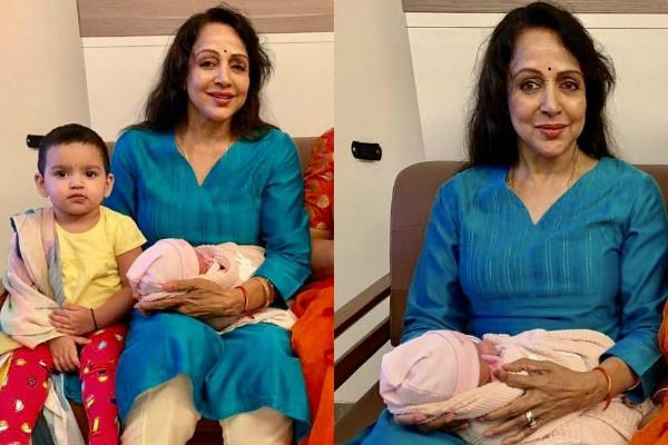 hema malini poses with esha deol newborn daughter miraya