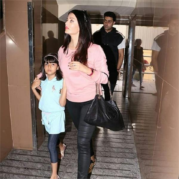 aishwarya rai with daughter aaradhya spotted in movie theatre