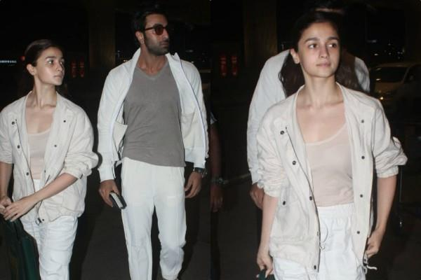 alia bhatt ranbir kapoor spotted at airport