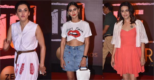 swara bhasker tapsee pannu attend film article 15 screening