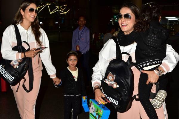 isha koppikar spotted at airport with daughter rianna