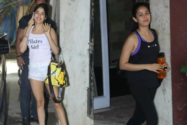 janhvi kapoor mira rajput spotted outside gym