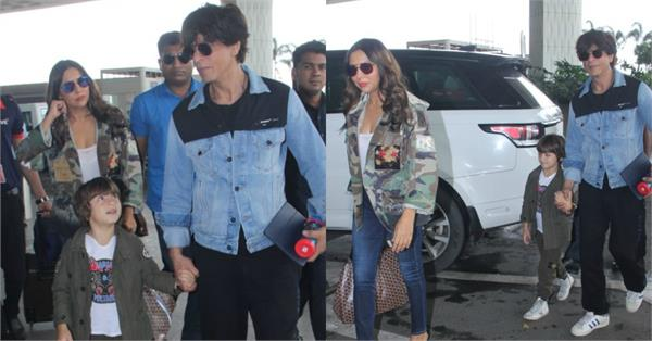 shahrukh khan heads to london with wife gauri khan and son abram