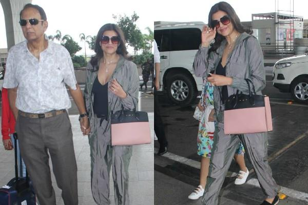 sushmita sen spotted at airport with father