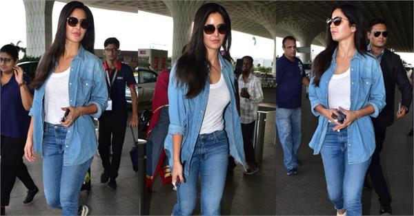 एयरपोर्ट पर स्पॉट हुई कैटरीना कैफ, डेनिम जैकेट में दिखा ग्लैमरस अवतार