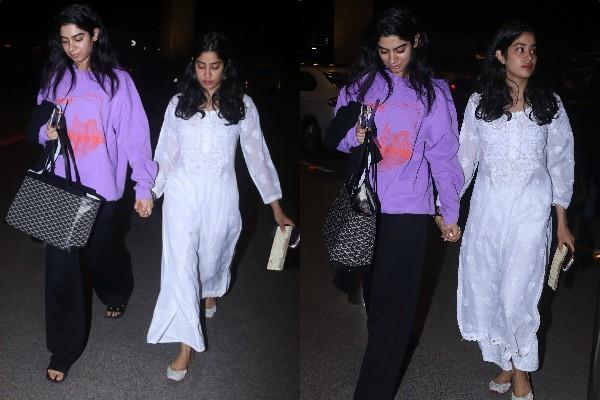 janhvi kapoor and khushi kapoor spotted at airport