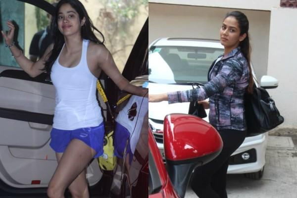 janhvi kapoor mira rajput spotted outside the gym