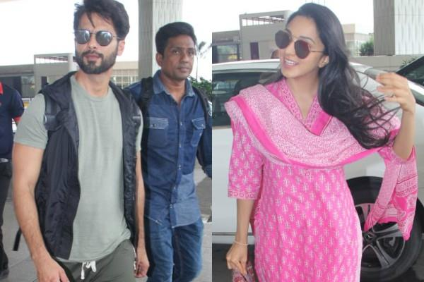 shahid kapoor spotted at airport with kiara advani