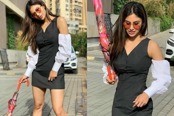 mouni roy looks stunning in black dress