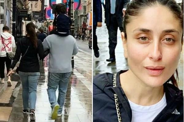 kareena kapoor spotted on london streets with saif and taimur