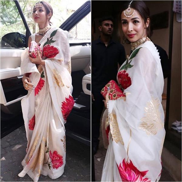 malaika arora gets trolled for wearing saree at sonam kapoor party