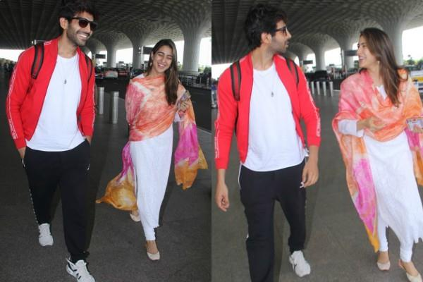 sara ali khan and kartik aaryan spotted at airport