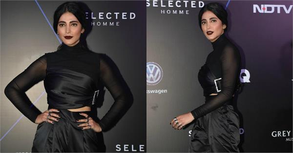 shruti haasan attend gq 100 best dressed awards