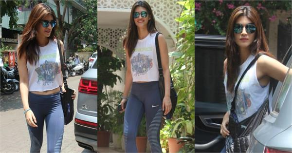 kriti sanon spotted at gym