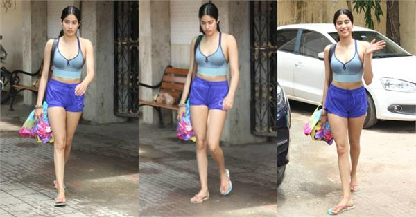 janhvi kapoor spotted outside the gym