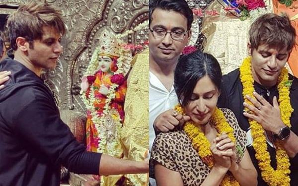 पत्नी संग खजराना गणेश मंदिर पहुंचे करणवीर बोहरा, शेयर की तस्वीरें