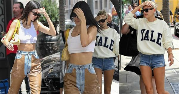 kendall jenner lunch date with hailey baldwin