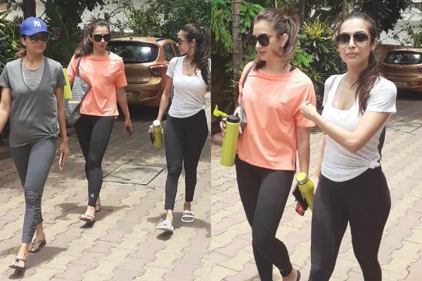 malaika amrita arora spotted outside gym with seema sachdev khan