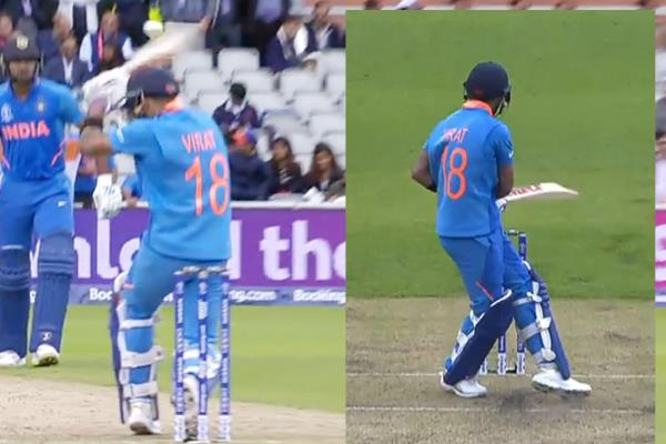 ind v pak  kohli walks for caught behind having not hit the ball